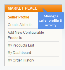 Marketplace dashboard Navigation